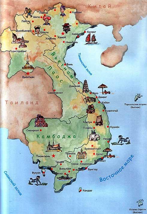 Карта Вьетнама с курортами фото