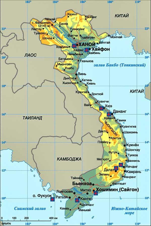 Карта Вьетнама на русском языке с курортами фото