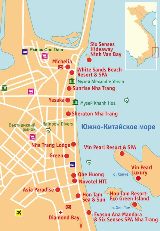 Карта Нячанга с отелями на русском языке