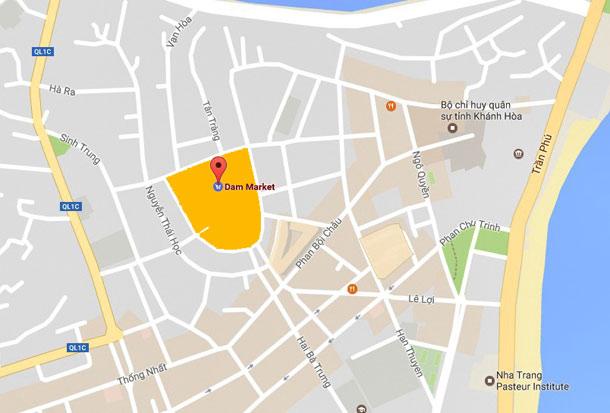 Рынок Чо Дам в Нячанга на карте