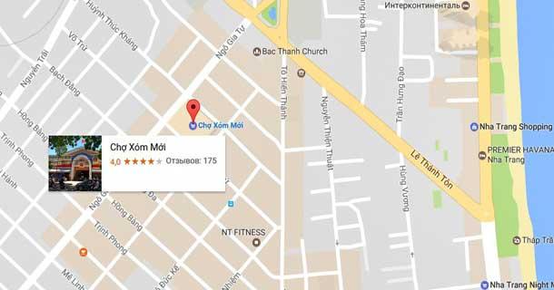 Рынок Сом Мой в Нячанга на карте